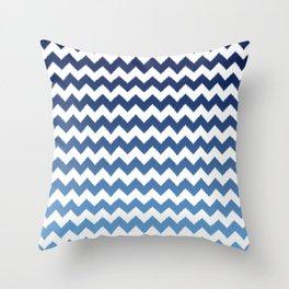 blue ombre ikat cheveron Throw Pillow