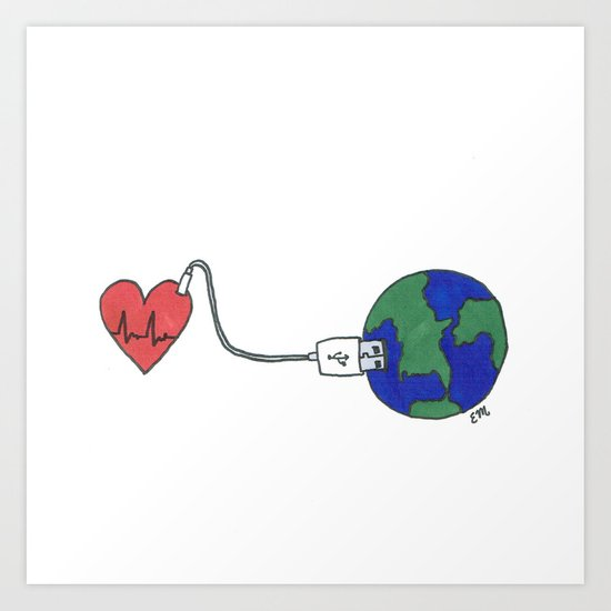 World and Love Art Print