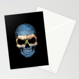 Dark Skull with Flag of El Salvador Stationery Cards