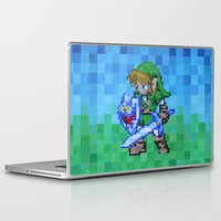 8bit Laptop & iPad Skins featuring 8bit Link by Cariann Dominguez