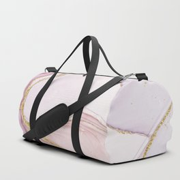 Blush Pink And Gold Alcohol Ink Marble Duffle Bag