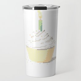 Happy Birthday Cupcake in a Real Cross Stitch Pattern - Color Coded Chart - Wearable Fiber Art Patte Travel Mug