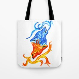 Fire and Water Wolves Tote Bag