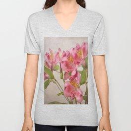 Pink Peruvian Lilies Alstroemeria Unisex V-Neck