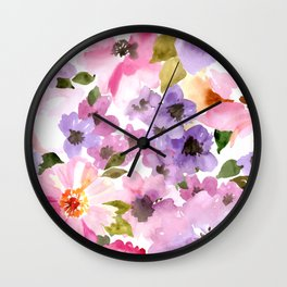 Pink Purple Watercolor Flowers Wall Clock