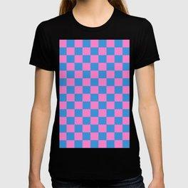 Checkered Pattern Light Blue and Very Light Pink T-shirt