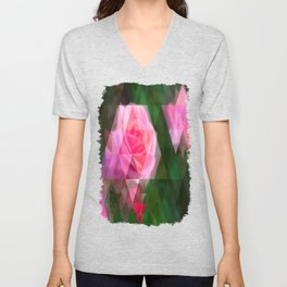 Pink Roses in Anzures 1 Art Triangles 1 Unisex V-Neck