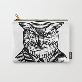 Hipster Owl Suit Woodcut Carry-All Pouch