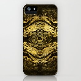 All Seeing eye golden texture on aged wood iPhone Case