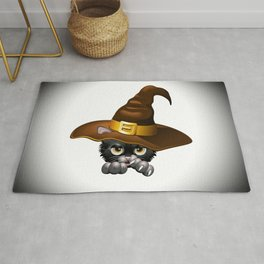 Black Kitten Cartoon With Witch Hat Rug