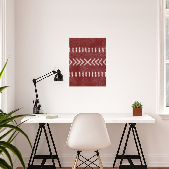 Minimalist Tribal Pattern on oxblood red Poster