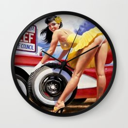 Watch Your Curves Eat More Beef Metal Tin Sign Wall Clock