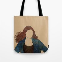 amy pond Tote Bags featuring The Girl Who Waited, Amy Pond by Diddly's Shop