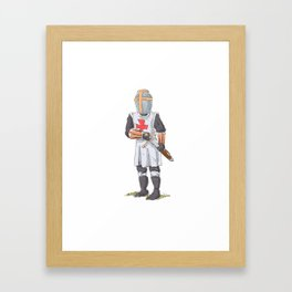 Knight Templar in armour with sword. Framed Art Print
