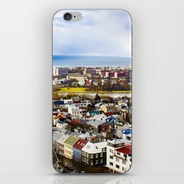 Aerial View of Rainbow Roof Houses and Apartments in Reykjavik, Iceland iPhone Skin
