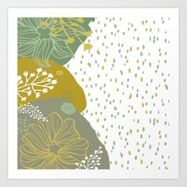 Playful Organic Floral Abstract in Green Matisse Design Art Print