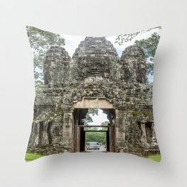 Leaving Through the Angkor Thom South Gate, Siem Reap, Cambodia Throw Pillow