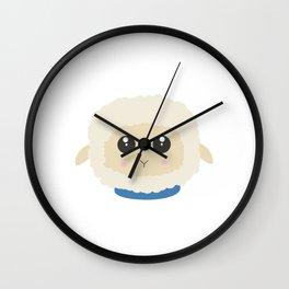 Cute little sheep with blue collar Wall Clock