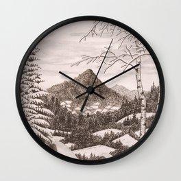 NORTHEAST SNOWFALL VINTAGE PEN AND PENCIL DRAWING Wall Clock