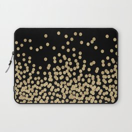 Gold glitter dots scattered on black background Laptop Sleeve