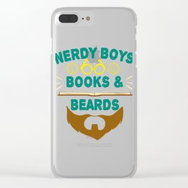 """""""Nerdy Boys Books And Beards"""" tee design for beard lovers like you! Makes a unique gift too!  Clear iPhone Case"""