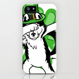 Dabbing Leprechaun St Patricks Day Dabbing Dog Siberian Husky iPhone Case