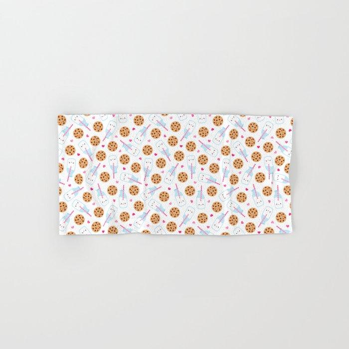 Happy Milk and Cookies Pattern Hand & Bath Towel