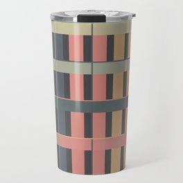 Seamless Colorful Abstract Modern Line Plaid Pattern Travel Mug