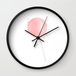 Splashed Pink Lollipop Wall Clock