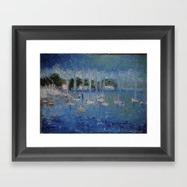 The boats on lake champlain Framed Art Print