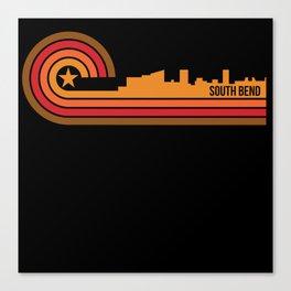Retro Style South Bend Indiana Skyline Canvas Print