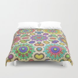 colorful kaleidoscope of abstract cogs Duvet Cover