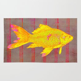 Gold Fish on a Striped Background Rug