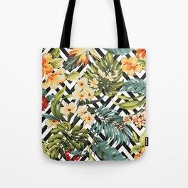 Flowered Chevron Tote Bag