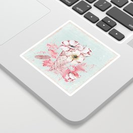 Pink & Teal Summer Fun Flower Ice Cream Waffle -Illustration Sticker