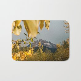Mt. Hood Through The Leaves Bath Mat