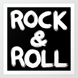 Rock and Roll Brushstroke Black and White Art Print