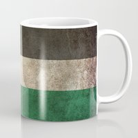 palestine Mugs featuring Old and Worn Distressed Vintage Flag of Palestine by Jeff Bartels