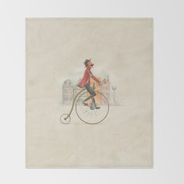 Old cycling Throw Blanket