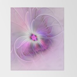 Abstract Flower With Pink And Purple Fractal Throw Blanket