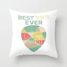 Retro Best Chords Ever With A Minimal Illustration Of A Guitar T-shirt Design White Musician Throw Pillow