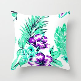 Vibrant Abstract Purple and Teal Tropical Flowers Throw Pillow
