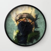 kakashi Wall Clocks featuring Grunge Copy Ninja by jpmdesign