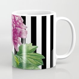 Pink Peony Black Stripes Chic Coffee Mug