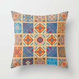 Vintage mosaic talavera ornament Throw Pillow