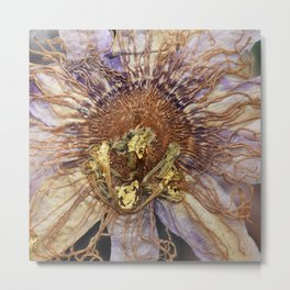 Lavender Passion Flower Detail with 22kt Gold Metal Print