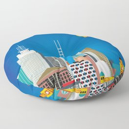 Melbourne, Australia - Skyline Illustration by Loose Petals Floor Pillow
