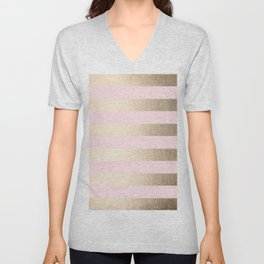 Simply Striped in White Gold Sands and Flamingo Pink Unisex V-Neck