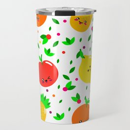 Cute & Whimsical Fruit Pattern with Kawaii Faces Travel Mug
