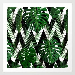 Geometrical green black white tropical monster leaves Art Print